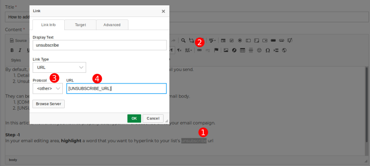 probaho  How to add unsubscribe link in email body?